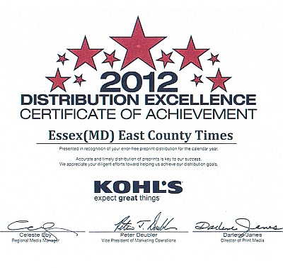 Advertising Distributors received the 2012 Kohl's Distribution Excellence Award