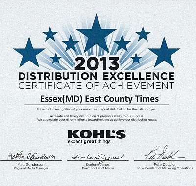 Advertising Distributors received the 2013 Kohl's Distribution Excellence Award